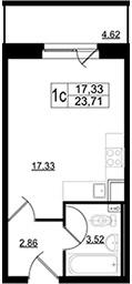 Планировка Студия площадью 24.4 кв.м в ЖК «Дом на Школьной»